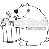 Clipart Outlined Bear Getting Into A Garbage Can - Royalty Free Vector Illustration © Dennis Cox #1101692