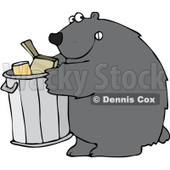 Clipart Bear Getting Into A Garbage Can - Royalty Free Vector Illustration © Dennis Cox #1101695