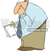 Clipart Businessman Holding Documents And Picking His Nose - Royalty Free Vector Illustration © djart #1101697