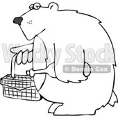 Clipart Outlined Bear Carrying A Picnic Basket And Wine - Royalty Free Vector Illustration © Dennis Cox #1103611