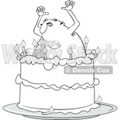 Clipart Outlined Hairy Man Popping Out Of A Birthday Cake - Royalty Free Vector Illustration © djart #1103612