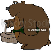 Clipart Bear Carrying A Picnic Basket And Wine - Royalty Free Vector Illustration © Dennis Cox #1103613