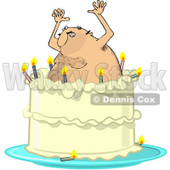 Clipart Hairy Man Popping Out Of A Birthday Cake - Royalty Free Vector Illustration © djart #1103615