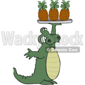 Clipart Alligator Serving Pineapple On A Tray - Royalty Free Vector Illustration © djart #1104674