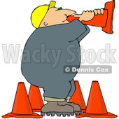 Clipart Road Construction Worker Talking Through A Cone - Royalty Free Vector Illustration © Dennis Cox #1104675