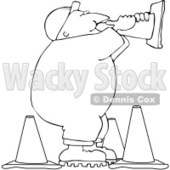 Clipart Outlined Road Construction Man Talking Through A Cone - Royalty Free Vector Illustration © Dennis Cox #1104676