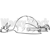 Clipart Outlined Dead Bird On Its Back - Royalty Free Vector Illustration © djart #1104848