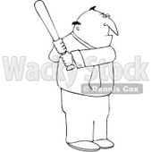 Clipart Outlined Businessman Batting - Royalty Free Vector Illustration © djart #1104851