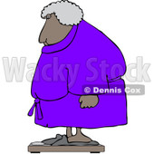 Clipart Chubby Black Woman In A Robe Standing On A Scale - Royalty Free Vector Illustration © djart #1104857