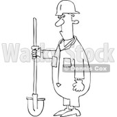 Clipart Outlined Construction Worker Man Holding A Shovel - Royalty Free Vector Illustration © djart #1105045