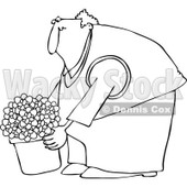 Clipart Outlined Chubby Man Leaning Over And Lifting A Potted Plant - Royalty Free Vector Illustration © djart #1105046