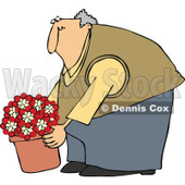 Clipart Chubby Man Leaning Over And Lifting A Potted Plant - Royalty Free Vector Illustration © djart #1105051