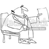 Clipart Outlined Businessman Sitting And Holding Up A Piece Of Paper - Royalty Free Vector Illustration © Dennis Cox #1105902