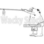 Clipart Outlined Native American Man Using A Dart Blowgun - Royalty Free Vector Illustration © djart #1105904
