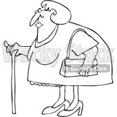 Clipart Outlined Granny Woman Using A Cane - Royalty Free Vector Illustration © djart #1105905