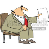 Clipart Businessman Sitting And Holding Up A Piece Of Paper - Royalty Free Vector Illustration © djart #1105908
