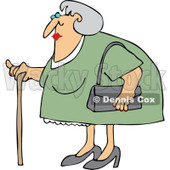 Clipart Granny Woman Using A Cane - Royalty Free Vector Illustration © djart #1105909