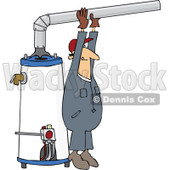 Clipart Man Installing A Hot Water Heater - Royalty Free Vector Illustration © djart #1105911
