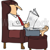 Clipart Man Reading The Newspaper With His Feet Up On An Ottoman - Royalty Free Vector Illustration © djart #1106252