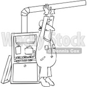 Clipart Outlined Furnace Installer Man Adjusting A Pipe - Royalty Free Vector Illustration © djart #1106253