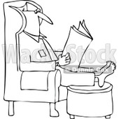 Clipart Outlined Man Reading The Newspaper With His Feet Up On An Ottoman - Royalty Free Vector Illustration © Dennis Cox #1106255