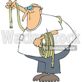 Clipart Man Wearing Goggles And Holding A Rope - Royalty Free Vector Illustration © djart #1107617