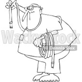 Clipart Outlined Man Wearing Goggles And Holding A Rope - Royalty Free Vector Illustration © djart #1107618