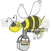 Clipart Bee Carrying Heavy Buckets Of Honey - Royalty Free Vector Illustration © djart #1107880