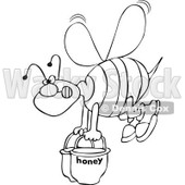 Clipart Outlined Bee Carrying Heavy Buckets Of Honey - Royalty Free Vector Illustration © djart #1107881