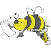 Clipart Bee Pointing And Holding A Map - Royalty Free Vector Illustration © djart #1107882