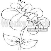 Clipart Outlined Bee Resting On A Flower - Royalty Free Vector Illustration © djart #1108687