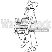 Clipart Outlined Geeky Man Supporting A Stack Of Books On His Knee - Royalty Free Vector Illustration © djart #1108689