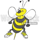 Clipart Angry Bee Ready To Attack With A Stinger - Royalty Free Vector Illustration © Dennis Cox #1108691