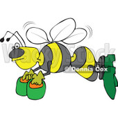 Clipart Angry Bee Flying With Honey Buckets - Royalty Free Vector Illustration © djart #1108692