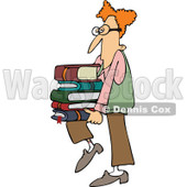Clipart Geeky Man Supporting A Stack Of Books On His Knee - Royalty Free Vector Illustration © djart #1108695