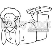 Clipart Outlined Boy Resting On His Belly And His Head Propped In His Hands - Royalty Free Vector Illustration © djart #1108868