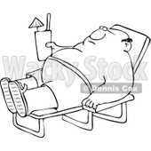 Clipart Outlined Chubby Man Sun Bathing And Holding A Beverage - Royalty Free Vector Illustration © djart #1108869