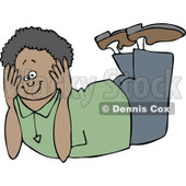 Clipart Happy Black Boy Resting On His Belly And His Head Propped In His Hands - Royalty Free Vector Illustration © djart #1108871