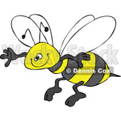 Clipart Happy Honey Bee Grinning And Flying - Royalty Free Vector Illustration © Dennis Cox #1109307