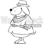 Clipart Outlined Investigator Dog In A Trench Coat - Royalty Free Vector Illustration © djart #1109310