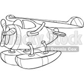 Clipart Outlined Cartoon Seaplane - Royalty Free Vector Illustration © djart #1109822