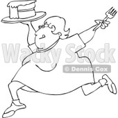 Clipart Outlined Cartoon Happy Fat Woman Running With Cake - Royalty Free Vector Illustration © djart #1109823