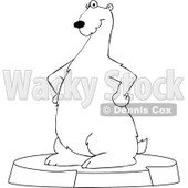 Clipart Outlined Cartoon Polar Bear Standing On An Ice Berg - Royalty Free Vector Illustration © djart #1109824