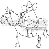 Clipart Outlined Cartoon Cowboy Holding The Reins While On Horseback - Royalty Free Vector Illustration © djart #1109825