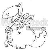 Clipart Outlined Cartoon Happy Dragon Grinning - Royalty Free Vector Illustration © djart #1109826