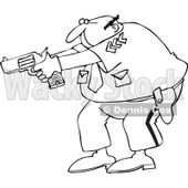 Clipart Outlined Cartoon Police Officer Aiming His Gun - Royalty Free Vector Illustration © djart #1109827