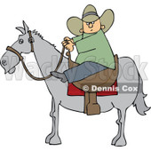 Clipart Cartoon Cowboy Holding The Reins While On Horseback - Royalty Free Vector Illustration © djart #1109831