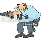Clipart Cartoon White Male Police Officer Aiming His Gun - Royalty Free Vector Illustration © djart #1109833