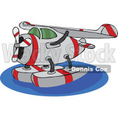 Clipart Cartoon Seaplane On Water - Royalty Free Vector Illustration © djart #1109835