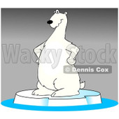 Clipart Cartoon Polar Bear Standing On Ice Over Gray - Royalty Free Illustration © djart #1109836